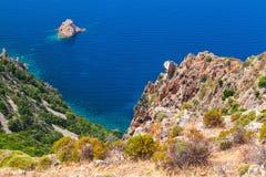 Rocks of Capo Rosso, Piana region, Corsica Royalty Free Stock Images