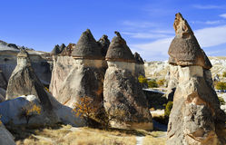 Rocks of Cappadocia in Central Anatolia, Turkey Royalty Free Stock Photos