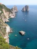 Rocks Capri Southern Italy. View of capri faraglioni rocks Royalty Free Stock Images