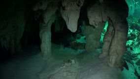Rocks in a cave of Yucatan cenotes underwater caves in Mexico. Natural landscape in clean and clear underground water in reflection of sunlight stock footage
