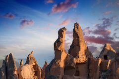 Rocks with caves in Cappadocia, Turkey Stock Images