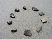 Rocks in a Circle. Rocks in the shape of a circle on a sandy beach Stock Photography