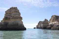 Rocks and cliff like bridge in lagos porugal Stock Photography