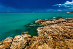 Rocks and cliffs over the ocean on north side of Koh Samui islan Royalty Free Stock Images