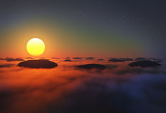 Rocks in clouds sun. Rocks in clouds with sun near horizon on night sky Stock Photos