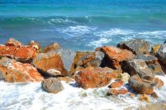 Rocks on the coast of Aegean Sea. Royalty Free Stock Photo