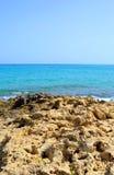 Rocks on the coast of Aegean Sea. Stock Photography