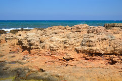 Rocks on the coast of Aegean Sea. Royalty Free Stock Photos