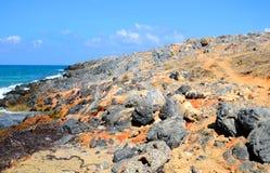 Rocks on the coast of Aegean Sea. Rocks on the coast of Aegean Sea in Malia, Crete, Greece Royalty Free Stock Photo
