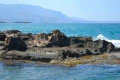 Rocks on the coast of Aegean Sea. Stock Photo
