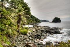 Rocks at the coast of Capurgana Stock Image
