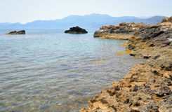 Rocks on the coast of Cretan Sea. Royalty Free Stock Images