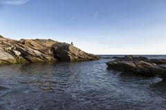 The Rocks on the Coast. The coast of Jamestown RI Royalty Free Stock Image