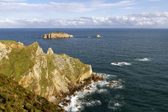 Rocks at the coast of north of  Asturias, Spain. Royalty Free Stock Photo