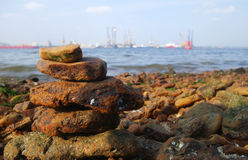 Rocks on the coast of the sea Stock Image