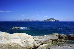 Rocks on coast at Zakynthos island Stock Photography
