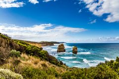 Rocks of the coastal strip of the Twelve Apostles. The Great Ocean Road. The morning on the Pacific coast near Melbourne. Travel stock images