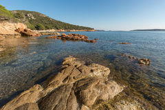 Rocks and coastline at Palombaggia beach in Corsica Royalty Free Stock Photo