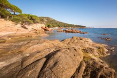 Rocks and coastline at Palombaggia beach in Corsica Royalty Free Stock Photos