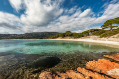 Rocks and coastline at Palombaggia beach in Corsica Stock Photography