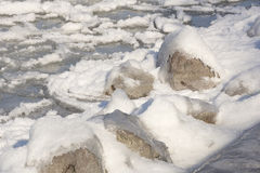 Rocks covered with ice Stock Photos