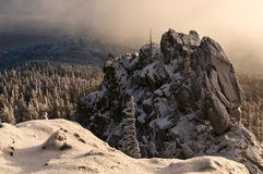 Rocks covered with snow Royalty Free Stock Photography