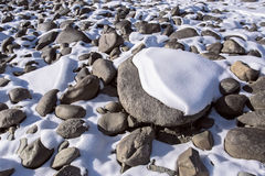 Rocks covered with snow Royalty Free Stock Image