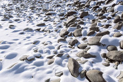 Rocks covered with snow Stock Photo
