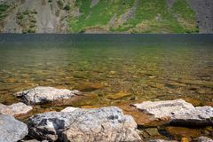 Rocks in crystal clear water of Wast Water lake in the Lake Dist royalty free stock photography