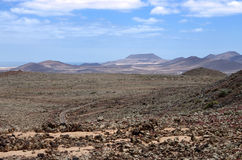 Rocks desert and mountains on fuerteventura island Royalty Free Stock Image