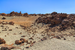 Rocks and Desert. Desert of sand and rocks formed by the Teide volcano Royalty Free Stock Images