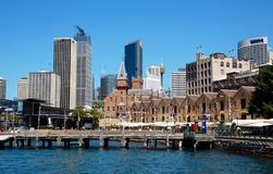 The Rocks district, Sydney, Australia. SYDNEY, AUSTRALIA - OCTOBER 4: The Rocks District, Circular Quay. The Rocks is an urban locality, tourist precinct and royalty free stock image
