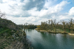 Rocks of the Dnieper River. The cliffs of the Dnieper River in the city of Zaporozhye Stock Photography