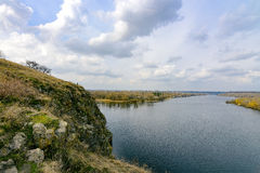 Rocks of the Dnieper River. The cliffs of the Dnieper River in the city of Zaporozhye Royalty Free Stock Photo