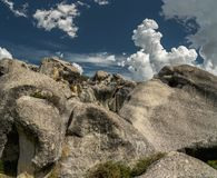 Giant limestone boulders in the mountains, Castle Hill, New Zealand royalty free stock images