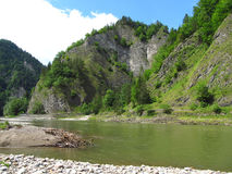 Rocks at Dunajec river. Tall beautiful rocks on the bank of Dunajec river Royalty Free Stock Photography