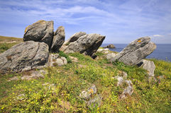 Rocks on the dunes at Quiberon in France Royalty Free Stock Photography