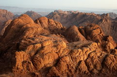 Rocks in early morning. Panorama rocks of Mount Sinai in early morning stock image