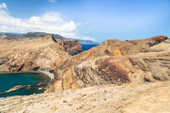 Rocks of east part of Madeira in the droughty summer afternoon Royalty Free Stock Image