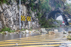 Rocks fallen from typhoon Stock Photography