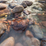 Rocks in a fast flowing crystal clear stream Royalty Free Stock Photography