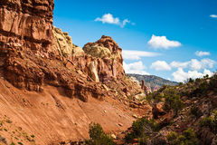 Rocks of Fire near canyon in New Mexico Royalty Free Stock Images