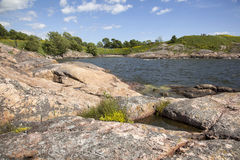 Rocks and flowers on the fortification island of suomenlinna Royalty Free Stock Photo