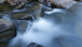 Rocks and flowing stream. In long exposure Royalty Free Stock Image