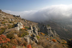 Rocks, fog in autumn Crimea mountains. Landscape. Stock Photo