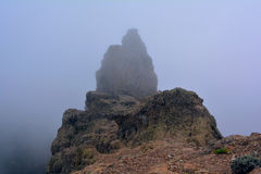 Rocks in the fog on the peack of Gran Canaria Mountains Stock Image