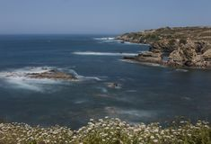 Rocks formations on Alentejo coastline. Landscape view of rocks formations on Alentejo coastline stock photos