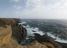 Rocks formations on Alentejo coastline. Landscape view of rocks formations on Alentejo coastline stock photography