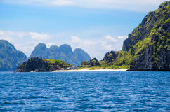 Rocks in front of Matinloc island, El Nido Palawan Philippines.  Stock Photo