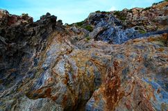 Rocks. In geology is called rock to the association of one or several minerals, natural, inorganic, heterogeneous, of variable chemical composition, without Royalty Free Stock Photo